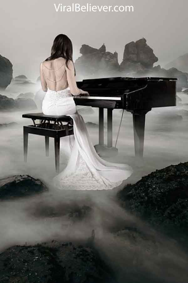 image of a bride playing the piano