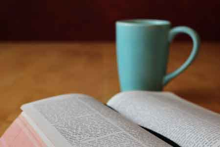 image of a Bible and a cup of coffee