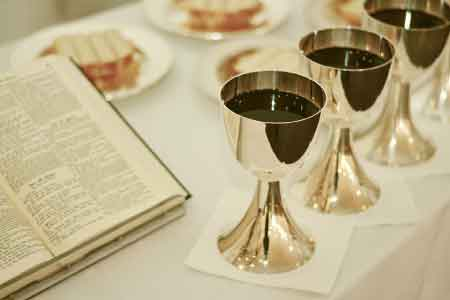 image of the communion elements on a communion table
