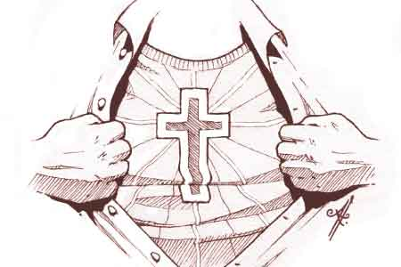 image of a Christian with a cross on their chest.