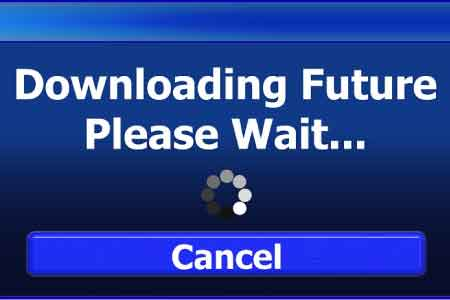 image that says downloading future please wait