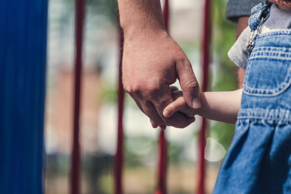 Image of a little girl holding a man's hand